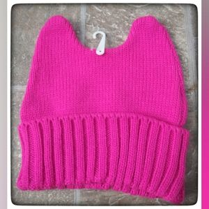 Girl's Pink Cat Ears Knit Beanie NWT